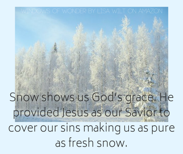 Snow shows us God_s grace. He provided Jesus as our Savior to cover our sins making us as pure as fresh snow.-2