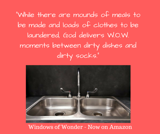 While there are mounds of meals to be made and loads of clothes to be laundered, God delivers W.O.W. moments between dirty dishes and dirty socks.